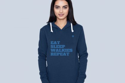 Eat Sleep Walkies REpeat Hoodie Blue