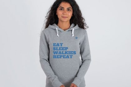 Eat Sleep Walkies REpeat Hoodie Grey